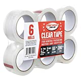 Clear Packing Tape, Pacific Mailer Heavy Duty Packaging Carton Tape for Shipping Packaing Moving Sealing, 2 Inch Wide, 2.7mil Thickness, 65 Yards Per Roll [Pack of 6]