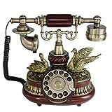 Tikwisdom - Magnifique téléphone antique à cadran rotatif de style européen en bois massif, pour ligne de téléphone fixe