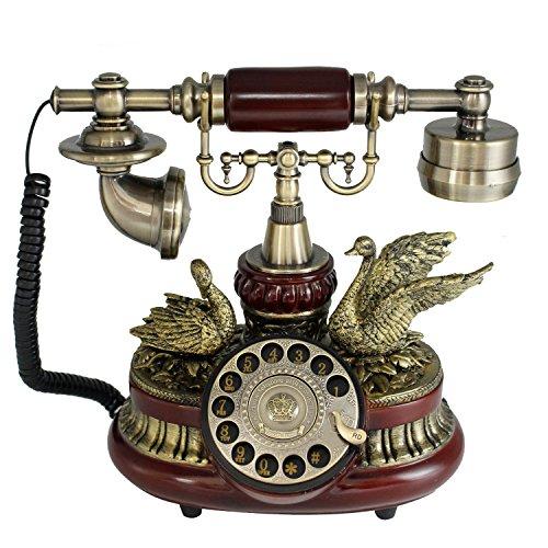 Tikwisdom Gorgeous Vintage telephone rotary dial telephone antique European-style Solid wood and versus Resin telephone landline