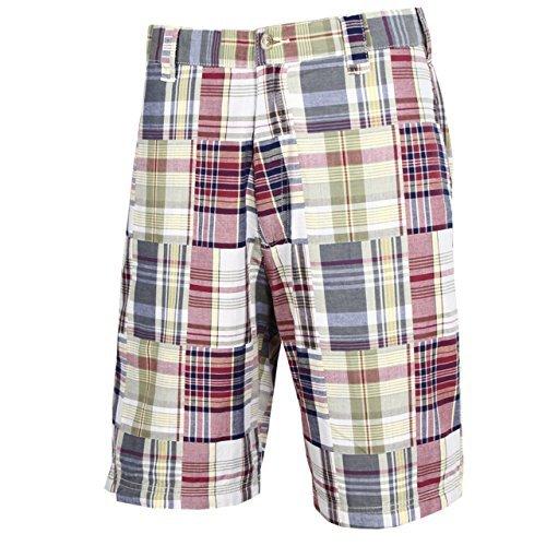 Tres Bien Golf Men's 100% Cotton Patch Work Plaid Shorts-Yellow-34