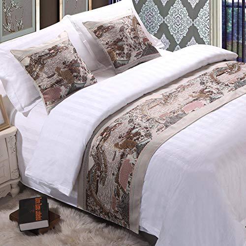 YYSWIM sänglöpare scarf säng flagga stjärna hotell, 1 duk kinesisk sänghalsduk, bordsflagga bröllop säng flagga, festlig svansduk grå säng fotsäng 14 & grå@ 1,5 m bred säng/50 x 210 cm