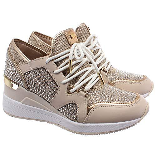 Michael Kors Damen Sneakers 43R0LVFS4D Liv Gold Leder Fabric Beige