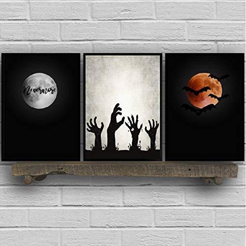 woplmh Halloween Wall Art Poster und Drucke Spooky Home Decor Kreative Kunst Leinwand Gemälde Bilder Halloween Party -40x60cmx3 / kein Rahmen