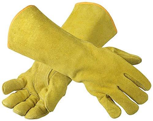 Handschuhe Schweißhandschuhe, 100% hitzebeständige gefütterte Lederhandschuhe - Flammhemmendes gefüttertes Leder, perfekt für Öfen, Kaminschutzhandschuhe, Arbeit, Bauernhof