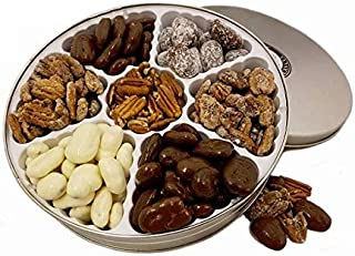 Pecan Gift Tin - 2 lbs | Seventh Heaven | 7 of our top flavored & Chocolate Pecans | Millican Pecan since 1888
