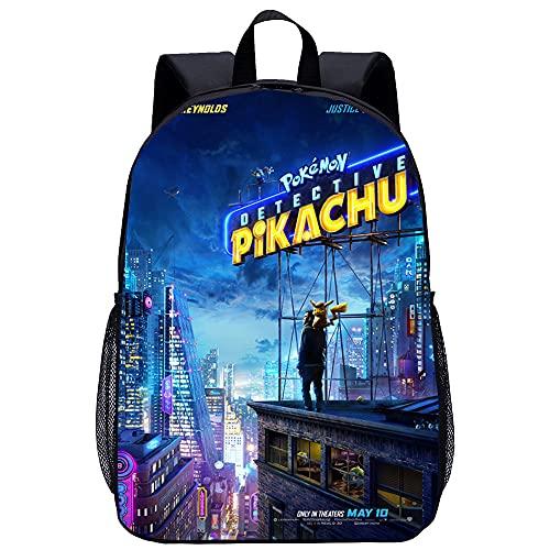 KKASD Mochila impresa en 3D Detective Pikachu Mochila para niños Mochilas de senderismo al aire libre para hombres y mujeres 45x30x15cm