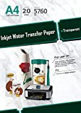 20 Sheets A4 Inkjet Water Slide Decal Transfer Paper, image transfer sheets, DIY photo transfer paper on...