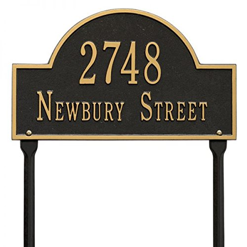 Comfort House Metal Address Plaque with Arch Top - Extra Large Lawn Mounted Custom House Number Sign Displays House Number and Street Name Item 63159F4.