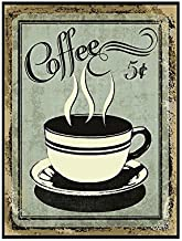 Vintage Wall Decor w/Coffee Design, Retro 12 x 9 'Coffee for 5 Cents' Metal Sign, Vintage Tin Signs for Coffee Lovers, Unique Coffee Sign for Mom, Sister, Friend or Coworker, Quirky Tin Home Decor