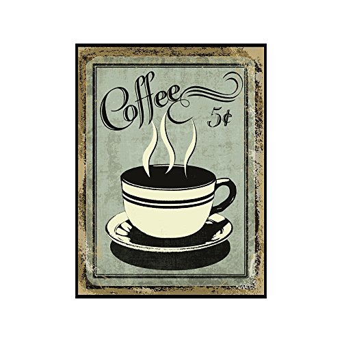 Vintage Wall Decor w/ Coffee Design, Retro 12 x 9 'Coffee for 5 Cents' Metal Sign, Vintage Tin Signs for Coffee Lovers, Unique Coffee Sign for Mom, Sister, Friend or Coworker, Quirky Tin Home Decor
