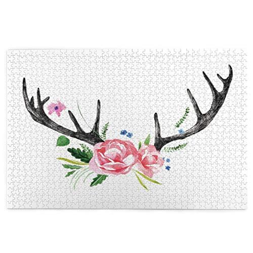 Rompecabezas de 1000 Piezas,Rompecabezas de imágenes,Cuernos de Ciervo Negro con diseño de Corona Floral de Rosas,Juguetes Puzzle for...