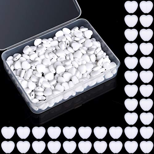 300 fibbie elastiche in silicone a forma di cuore, con cordino elastico e scatola per fai da te (bianco)