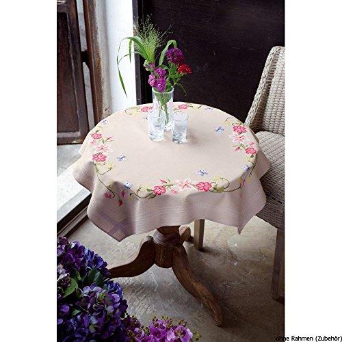 Vervaco roze bloemen met vlinders borduurpak/tafelkleed voorbedrukt/voorgeteken, katoen, meerkleurig, 80 x 80 x 0,3 cm