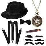 HOWAF Gángster Disfraz años 20 Hombre Accesorios, Conjunto de Traje mafioso Gatsby Que Incluye Sombrero, Bigote, Tirantes Hombre elásticas, Pajarita para Hombre y Reloj de Bolsillo Vintage