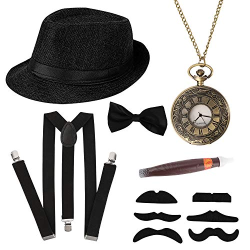 HOWAF 1920s Herren Accessoires, 20er Jahre Gangster Kostüm Rockabilly Mafia Gatsby kostüm Zubehör Set mit Elastisch Verstellbar Hosenträger Halsschleife schwarz Panama Hut Taschenuhr Zigarre