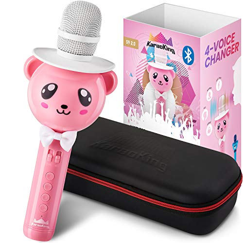 KaraoKing Wireless Portable Karaoke Microphone with Bluetooth for Kids (Pink)