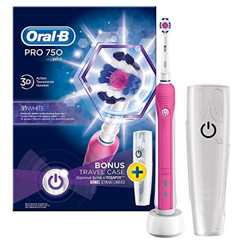 Oral B Pro 750, spazzolino da denti con astuccio da viaggio, colore: rosa