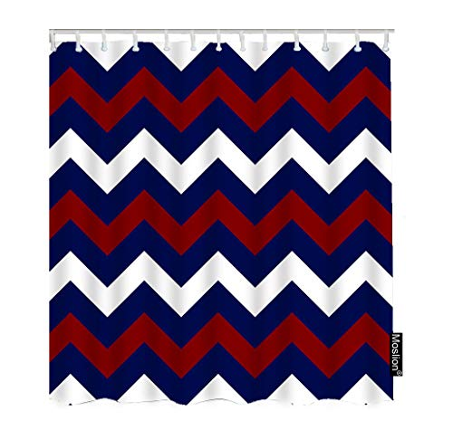 Striped Shower Curtains Red White Navy Blue Chevron Wavy Stripes Zigzag