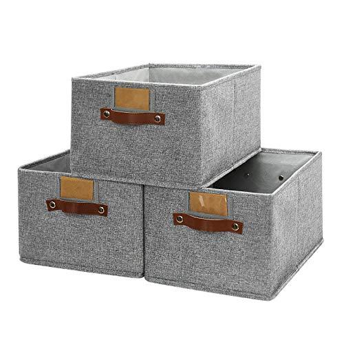 Große Körbe zum Organisieren, 3er-Pack, dekorative Aufbewahrungsboxen für Regale, rechteckige Schrankkörbe, faltbare stabile-Aufbewahrungskorb mit Griff für Kinderzimmer, Zuhause, Büro (Grau)