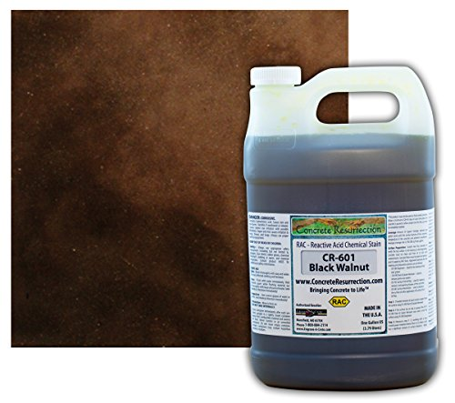 Concrete Acid Stain Semi-Transparent Professional Grade Cement Stain (1 Gallon, Black Walnut)
