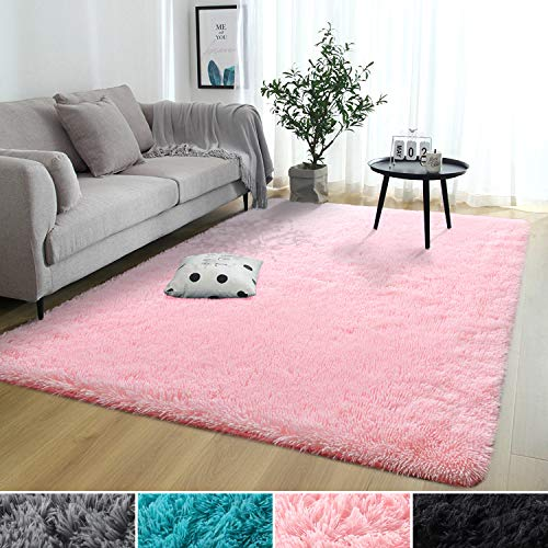 Rostyle Super Soft Fluffy Nursery Rug for Kids Teens Room Comfy Cute Floor Carpets Kids Playing Mat for Bedroom Living Room Home Decorate Area Rugs, 4 ft x 6 ft, Pink