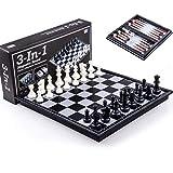 QIFFIY Ajedrez Ajedrez y Damas y Backgammon 3 en 1 Set de ajedrez de Aprendizaje al Aire Libre Juegos Recorrido Que dobla la Junta Magnética Backgammon (tamaño : Large)