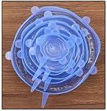 De múltiples fines Silicona succión 6PCS reutilizable universal Tapa-bowl cacerola cocina la tapa de silicio-Stretch tapas de silicona cubierta del plato de tapa y tapón para la conservación de alimen