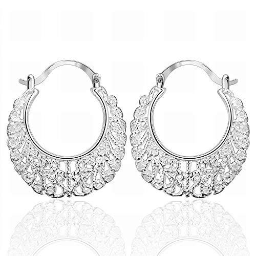 Een paar holle geweven bloemenoorbellen ovale vorm zilveren oorbellen dames/roestvrij staal/hypoallergeen/zilverglitter/klein en exquise winkel Als zeigen