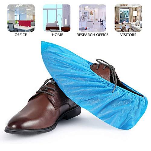 M-TOP Schuhüberzieher Wasserdicht Einweg CPE-Überschuhe Schutz Blau Regenüberschuhe rutschfeste Strapazierfähig Einheitsgröße100 pcs