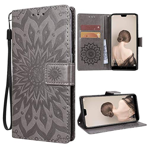 VemMore für Huawei P20 Pro Hülle Handyhülle Schutzhülle Leder PU Wallet Flip Case Bumper Lederhülle Ledertasche Blumen Muster Klapphülle Klappbar Magnetisch Dünn Silikon Sonnenblume - Grau