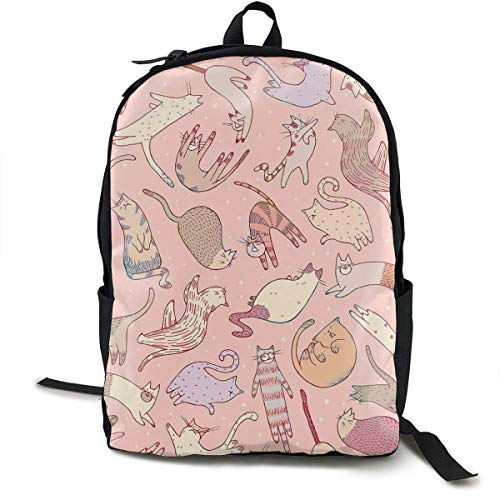 zhengchunleiX Travel Daypacks,Casual Rucksack,Sports Book Bags,Cute Cats Pink Unique Mochila Durable Oxford Outdoor College Students Busines Laptop Computer Shoulder Bags