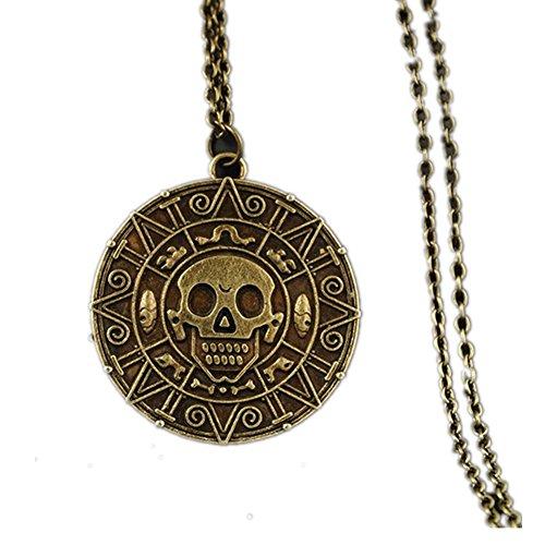 Piratas del Caribe Aztec Oro Antiguo Calavera Colgante Collar exagerado Hombres Moda Vintage Collar (Color: Bronce)