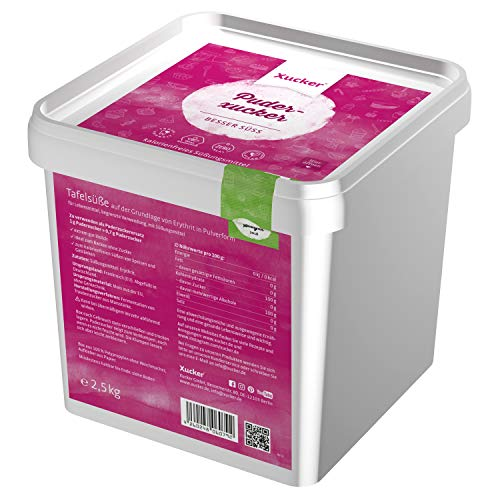 Xucker Puderxucker Erythrit 2,5kg Box - kalorienfreier Zuckerersatz als vegane & zahnfreundliche Puderzucker Alternative zum Kochen & Backen I Erythritol zuckerfrei