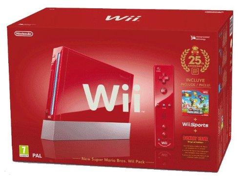 Console Wii Rouge (inclus New Super Mario Bros. Wii + Wii Sports) - Edition limitée 25ème Anniversaire Mario