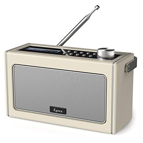 DAB / DAB Plus Radio / UKW Radio mit Bluetooth, Tragbares Digitalradio Retro Bluetooth Radio mit wiederaufladbarem Akku für biszu 15 Stunden Wiedergabe, LCD-Bildschirm, Aux und Headphone Anschlüsse