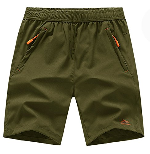 TBMPOY Men's Outdoor Sports Quick Dry Gym Running Shorts Zipper Pockets(ArmyGreen,us M)