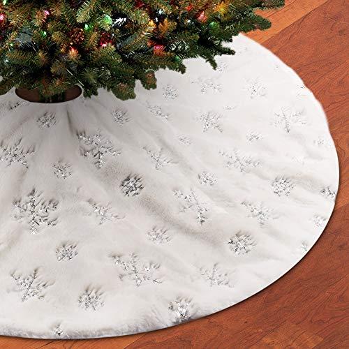 FREESOO Weihnachtsbaumdecke Christbaumdecke Rund Weihnachtsbaumständerhüllen Weihnachtsbaum Rock Christbaumständer Teppich Weihnachtsdekoration Weihnachtsbaum Teppich 122CM Silber