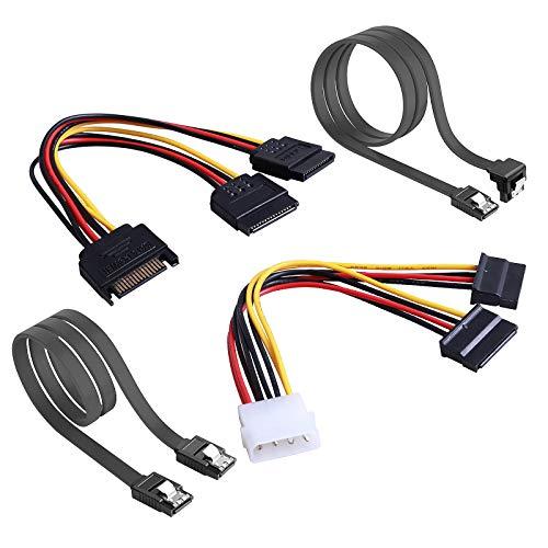 Rantecks SSD / SATA III Cables de conexión del disco duro con 4PCS SATA Cable y 2PCS SATA Power Splitter Cable para SATA SSD HDD CD Driver CD Writer