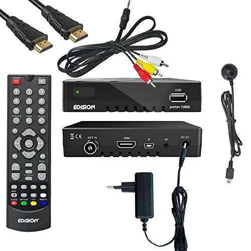 Kabelabel Edision Kabelreceiver Hybrid für digitales Kabelfernsehen inkl. HDMI Kabel Set: (1.DVB-C/T2 (+IR-Auge,Cinch))