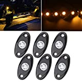 SUNPIE Amber LED Rock Lights Kits with 6 pods Lights for Road Truck Car ATV SUV Motorcycle Under Body Glow Light Lamp Trail Fender Lighting (Amber)