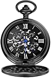 N/ A Cuarzo Reloj De Bolsillo Retro Clásico Negro De Cuatro Hojas del Trébol Clásico Nostálgico Reloj Perspectiva Moda Tapa Inferior Reloj De Bolsillo Mecánico De Steampunk