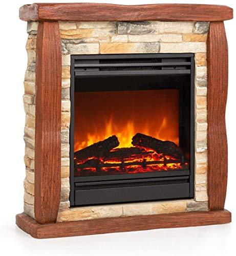 Elektro-Kamin, moderner elektrischer Kamin, elektrischer Kamin Nachahmung Flammeneffekt, dekorativer Stein Protokolle, freistehend Kamin,60 x 66 x 22cm