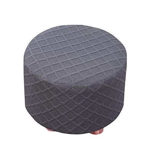 Facai - Fodera per poggiapiedi Ottomane, elastica, per sgabello rotondo, estensibile, fodera per pouf, lavabile, per poggiapiedi e divano, colore: Grigio
