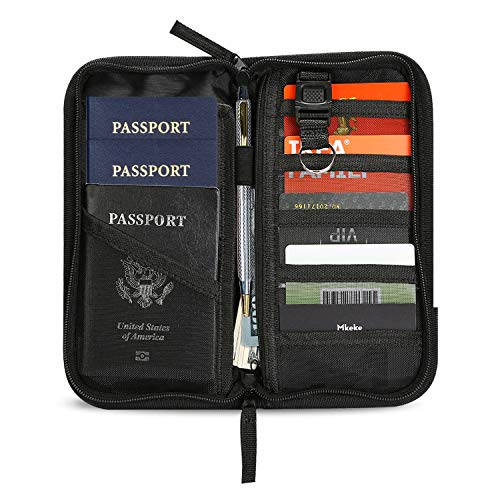 ProCase Family Passport Wallet with Accordion Design RFID Blocking, Passport Holder Travel Wallet Bag for Passports Credit Cards Tickets with Zipper -Black