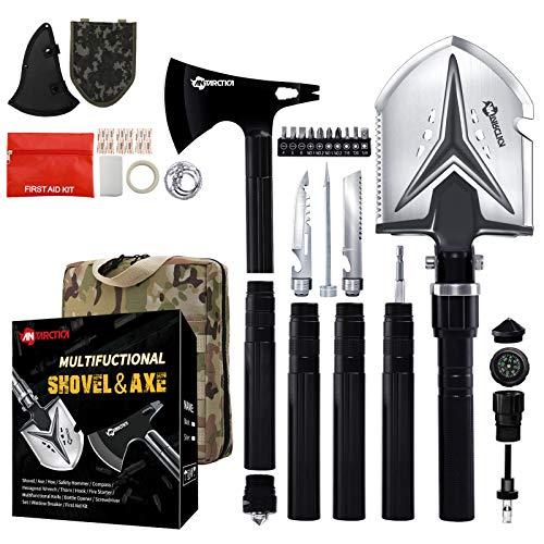 YEVHEV Klappspaten und Axe mit Survival kit 5 Längen-Kombinationen, für Überleben,Garten,Camping,Wandern