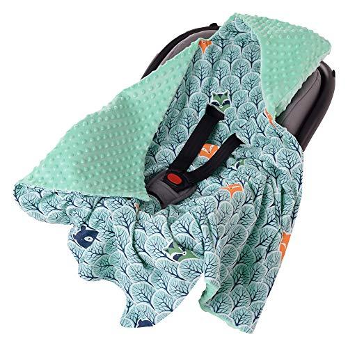 Einschlagdecke 100% Baumwolle 85x85cm doppelseitig multifunktional Minky Kuscheldecke für Kinderwagen weich flauschig (Wald mit minzer Minky)