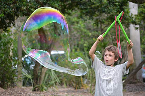 WOWMAZING Giant Bubble Wands Kit: (4-Piece Set)   Incl. Wand, Big Bubble Concentrate and Tips & Trick Booklet   Outdoor Toy for Kids, Boys, Girls   Bubbles Made in The USA - Standard Kit