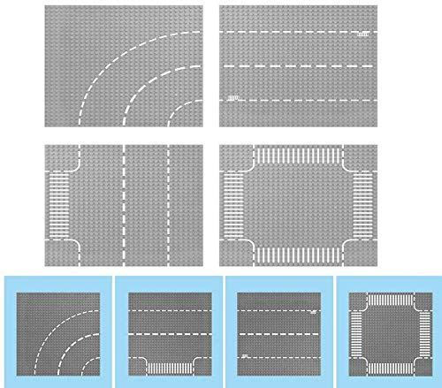 Modbrix 4 STÜCK City Strassen Platte Grundplatte Straßenplatten Set 32 x 32 Noppen Bauplatte Platten, 25.5 x...