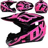 SISI Cascos Integrales Infantil con Guantes Gafas Máscara, Aprobado Dot Conjunto Casco Motocross Motocicleta Adultos Casco Bike con Diseño Fox, Rosa Negro Brillante,S