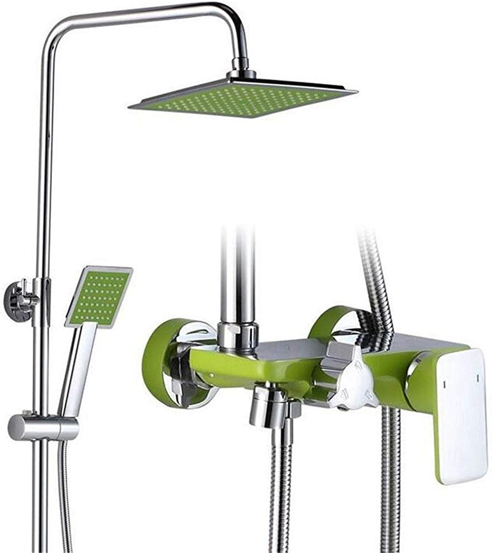 H.JPT Grüne Farbe flach DREI-Geschwindigkeits-Duschset Kupfer Wasserhahn Duschkopf Wandmontage Ware